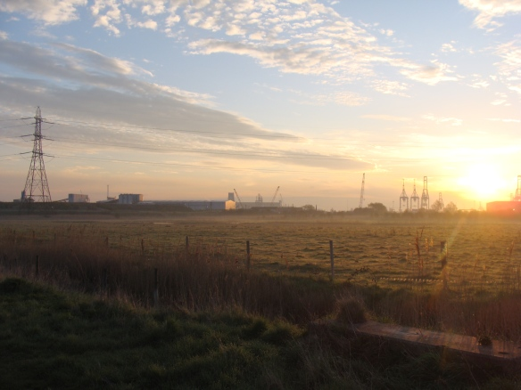 Dawn on Swanscombe Peninsular, looking across Botany Marshes